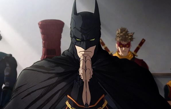 Picture Batman, cartoon, movie, Robin, film, mask, superheroes, Red Hood, cape, Red Robin, Nightwing, Batman Ninja