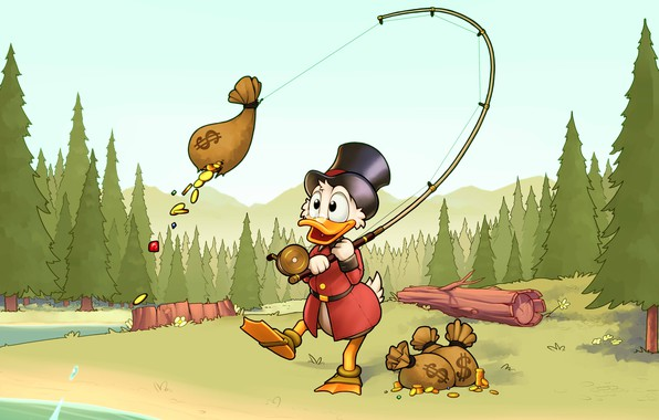 Picture forest, gold, fishing, coins, Disney, rod, Scrooge McDuck, Duck Tales