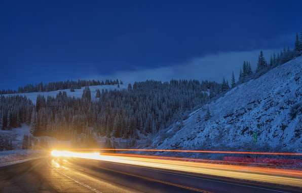 Picture road, forest, mountains, Colorado, headlights, Colorado, Copper Mountain