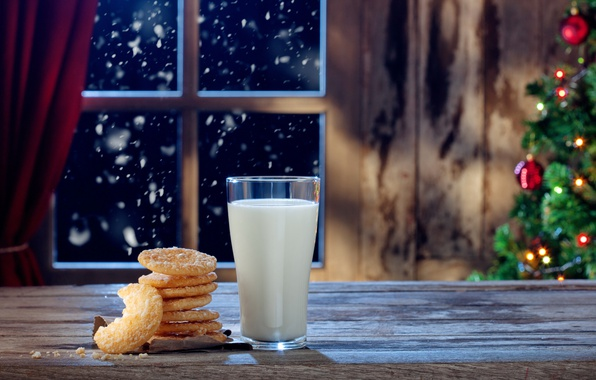 Picture New Year, Christmas, christmas, merry christmas, milk, cookies, decoration, christmas tree, xmas