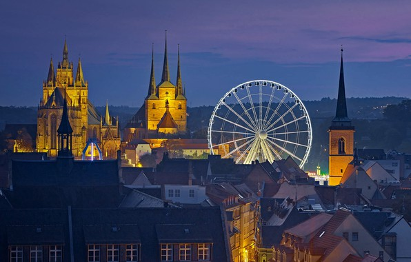 Wallpaper night, lights, home, Germany, Erfurt, Ferris ...