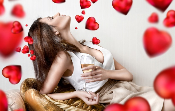 Picture girl, pose, wine, glass, bed, skirt, pillow, makeup, hairstyle, hearts, red, blouse, white, brown hair, …