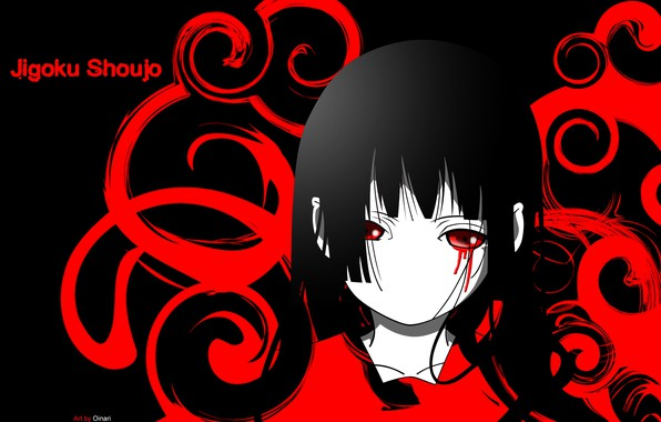 Picture void, loneliness, darkness, pain, black hair, bloody tears, Enma Ai, Jigoku Shoujo, Hell girl, Hell …