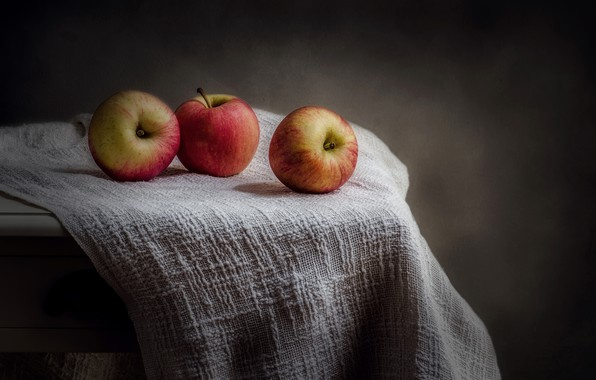 Picture macro, background, apples, three apples