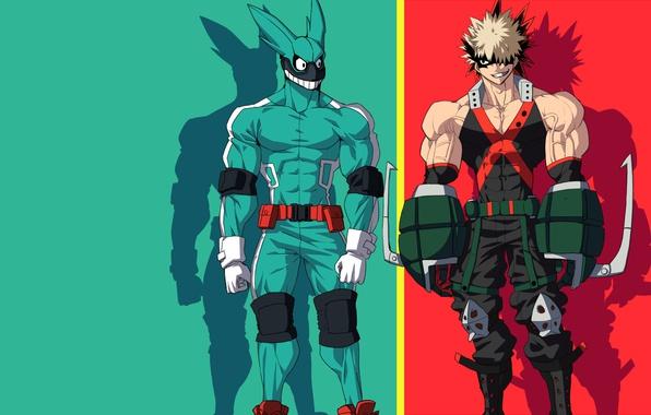 Picture green, red, rabbit, anime, hero, friends, manga, powerful, strong, uniform, yuusha, enemy, seifuku, grenade, Boku …