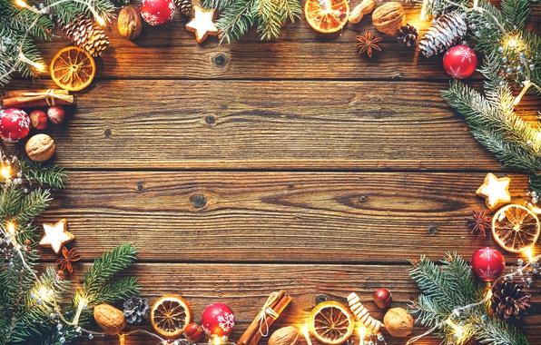 Picture balls, tree, orange, cookies, Christmas, New year, garland, bumps, hazelnuts, star anise, walnuts, cinnamon sticks, …