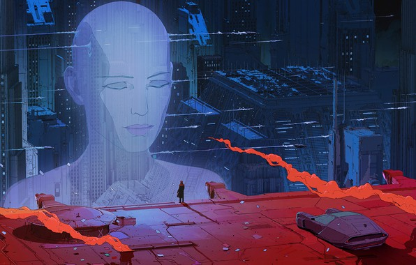 Photo wallpaper head, sci-fi, future, buildings, fantasy art, hologram, skyscrapers, digital art, Blade Runner 2049, machine, science ...