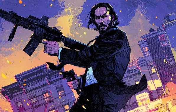 Photo wallpaper John Wick, strong, John Wick: Chapter 2, Keanu Reeves, rifle, man, cinema, film, pistol, weapon, ...