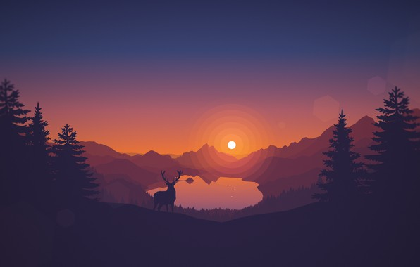 Picture Sunset, The sun, The evening, Mountains, The game, Lake, Forest, View, Hills, Deer, Landscape, Art, …