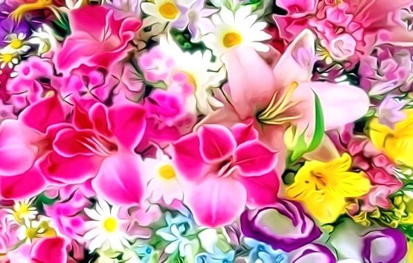 Picture flowers, rendering, figure, bouquet, petals, picture, flower cuts