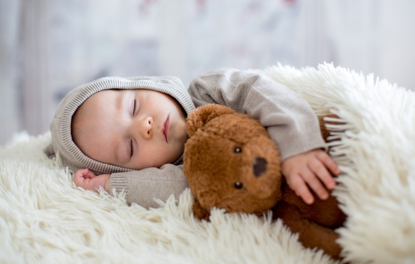 Picture sleep, boy, baby, bear, bed, blanket