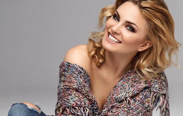 Picture look, pose, smile, background, portrait, jeans, makeup, hairstyle, blonde, beauty, jacket