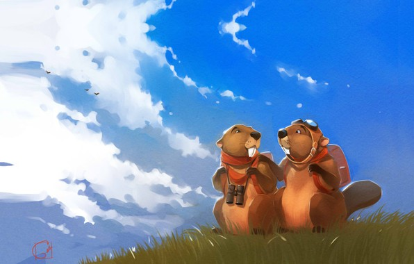 Picture summer, the sky, figure, art, art, Alexander Khitrov, GaudiBuendia, Beavers dreamers