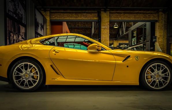 Picture yellow, Ferrari, supercar
