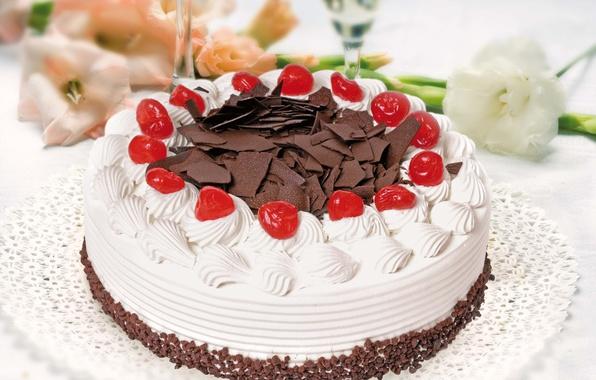 Picture cherry, chocolate, cake, cream