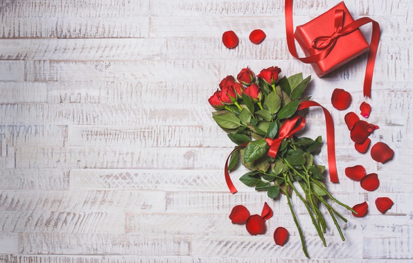 Picture red, love, wood, romantic, hearts, valentine's day, gift, roses, red roses