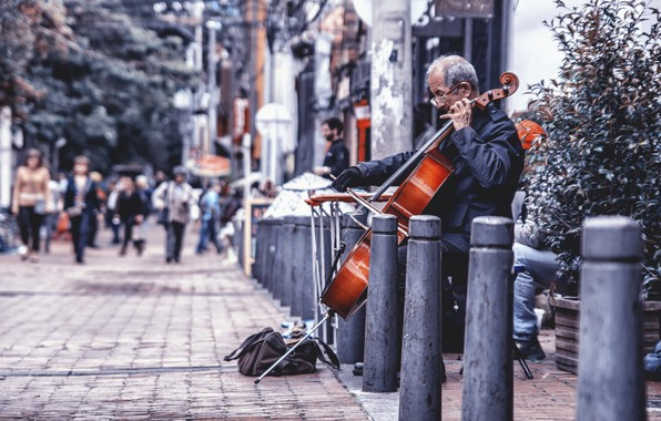 Picture music, street, chello