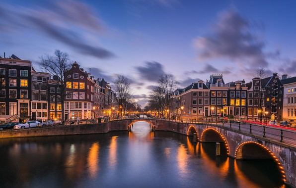 Picture bridge, lights, the evening, Amsterdam, channel, Netherlands, Amsterdam, Holland