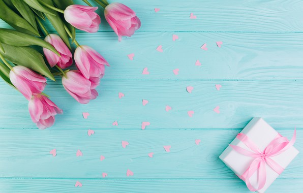 Picture love, flowers, gift, hearts, tulips, love, pink, fresh, wood, pink, flowers, beautiful, romantic, hearts, tulips, …