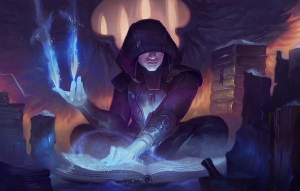 Picture fantasy, magic, wings, angel, artist, artwork, wizard, fantasy art, flames, books, sorcerer, hood, magician, symbols, …