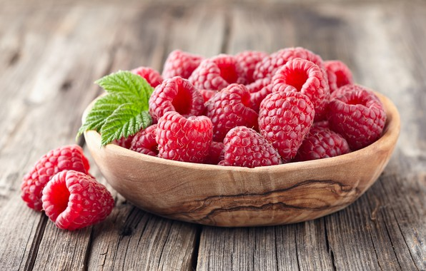 Picture leaves, berries, raspberry, basket