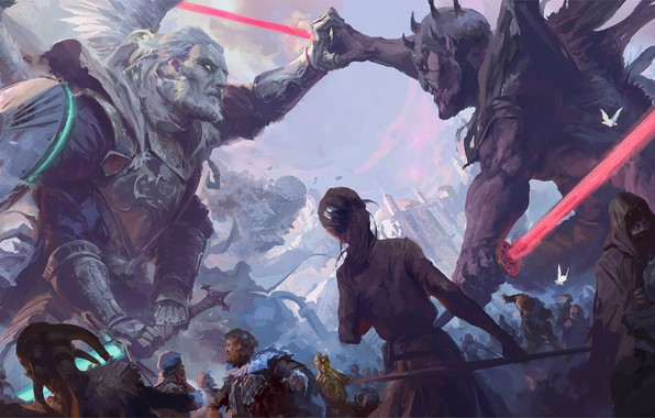 Picture Star Wars, R2D2, Darth Maul, aliens, fantasy, science fiction, sci-fi, movie, battle, robots, Jedi, weapons, ...