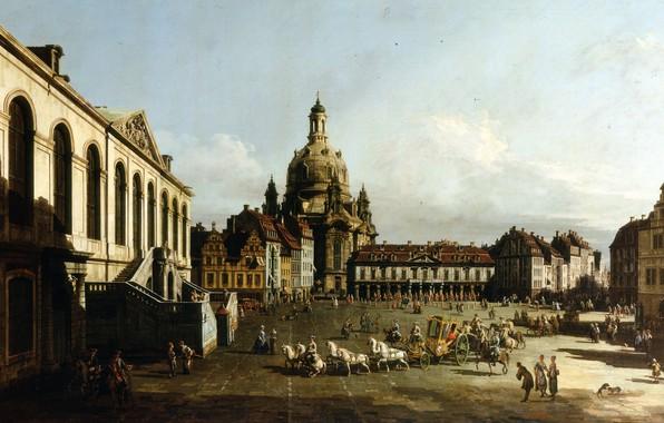 Picture people, home, picture, area, Church, the urban landscape, Bernardo Bellotto, The Neumarkt in Dresden
