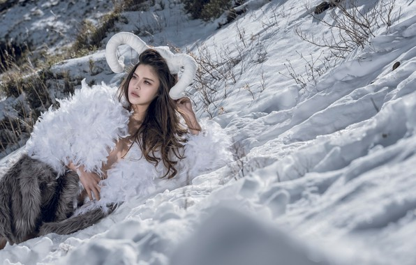 Picture winter, girl, snow, style, feathers, horns, fur