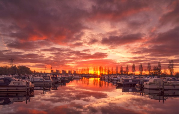 Picture England, boats, glow, harbour, Salt