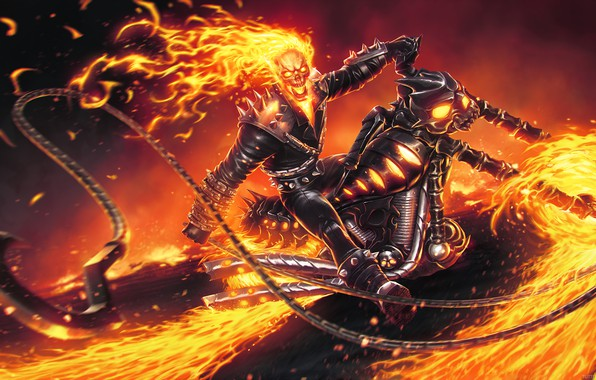 Picture fire, skull, chain, motorcycle, fire, sake, Ghost Rider, bike, Marvel comics, byke, Ghost Rider
