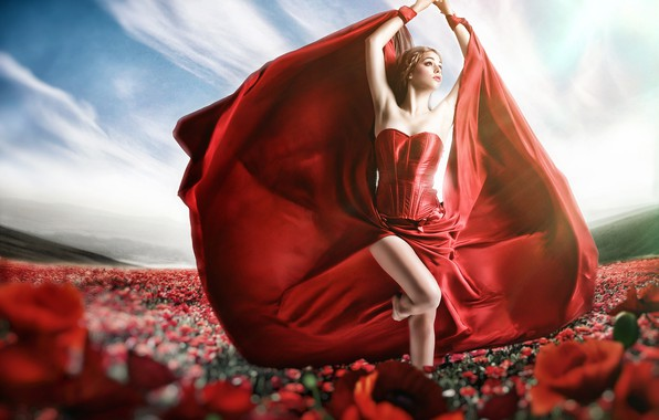 Picture flowers, pose, style, model, dress, red dress, Jessica Truscott