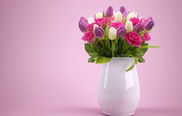 Picture flowers, roses, bouquet, tulips, vase