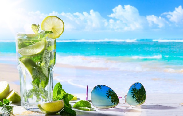 Picture sea, beach, the sky, glass, leaves, the sun, clouds, glass, reflection, palm trees, lemon, horizon, …