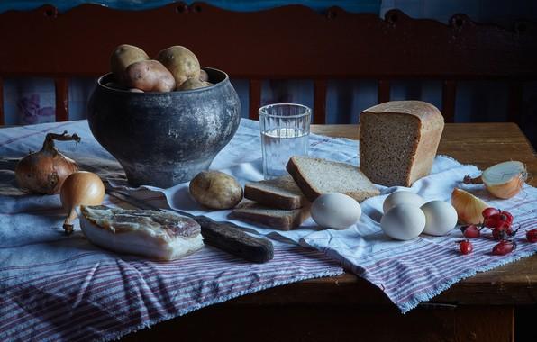 Picture glass, eggs, village, bow, briar, bread, still life, vodka, potatoes, fat, pot
