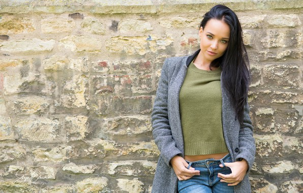 Picture girl, pose, model, portrait, jeans, makeup, figure, brunette, hairstyle, is, beautiful, jacket, coat, photoshoot, the …