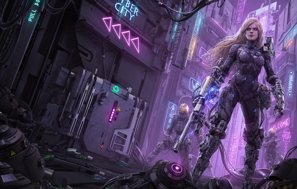 Picture the city, weapons, fiction, street, robot, cyborg, art, rika