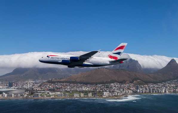 Picture sea, the sky, the city, flight, Airbus, Airbus, British Airways, A380, A-380