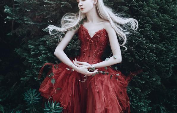 Picture girl, pose, style, mood, hands, red dress, Princess, the bushes, long hair, Maria Amanda, Bella …