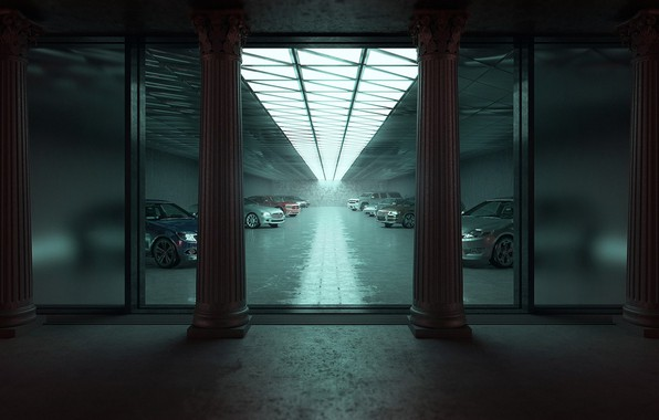 Picture garage, cars, Flooding Opulence