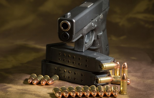 Picture gun, cartridges, glock