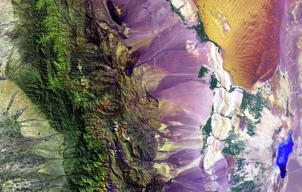 Picture mountains, photo, paint, Earth, NASA