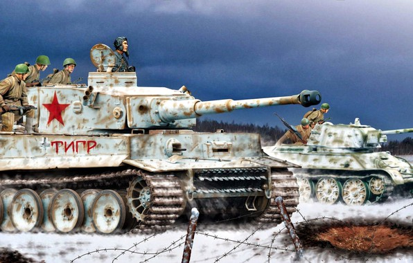 Picture art, tank, Soldiers, Tiger, average, T-34/76, PzKpfw VI, Heavy, The Red Army, Tanker