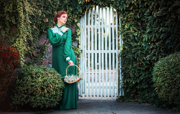 Picture greens, girl, flowers, pose, style, retro, dress, basket, the bushes, wicket, Alexander, Olga Boyko