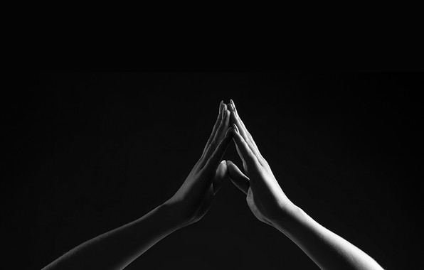Picture hands, black background, touch