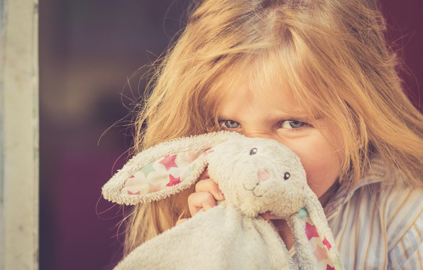 Picture toy, hare, rabbit, girl
