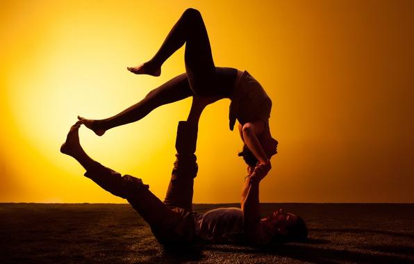 Wallpaper woman, man, couple, figures, silhouettes, Yoga ...  Wallpaper woman...