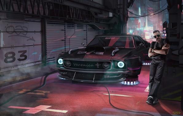 Picture man, garage, car, Cyberpunk Driver, cyber mustang