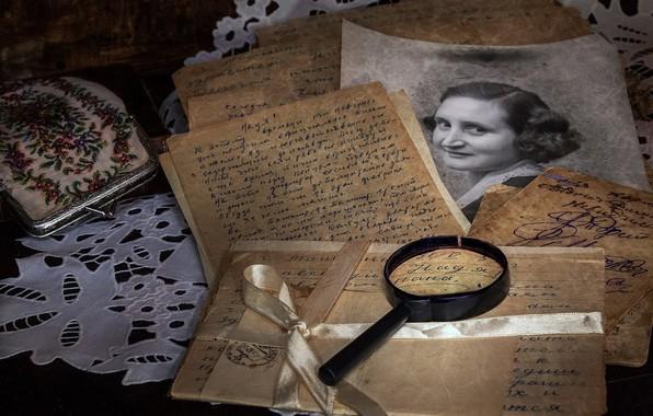 Picture letter, retro, photo, magnifier, vintage, paper, purse