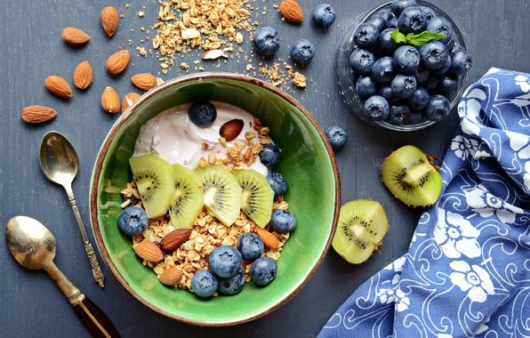Picture food, Breakfast, kiwi, blueberries, plate, nuts, muesli