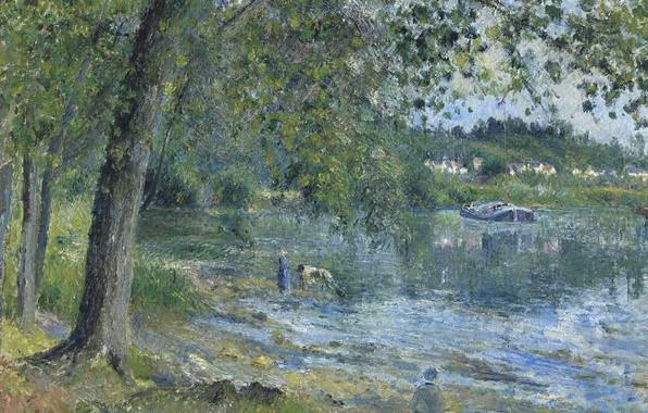 Photo wallpaper nature, Camille Pissarro, landscape, picture, The banks of the River Oise in Auvers-sur-Oise